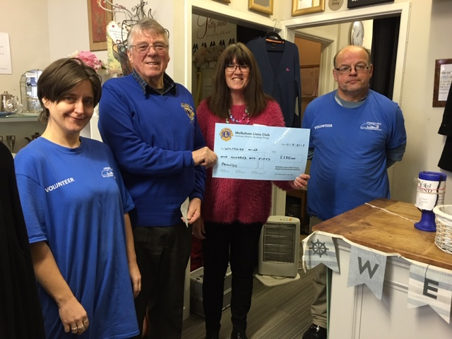 Cheque presented to Wiltshire Mind
